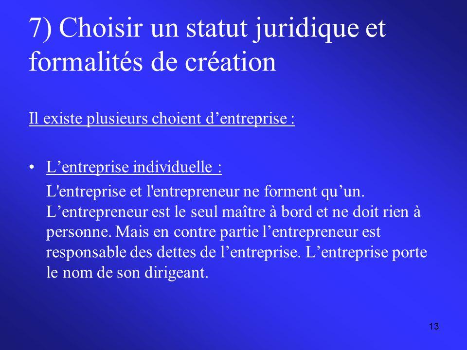 7) Choisir un statut juridique et formalités de création