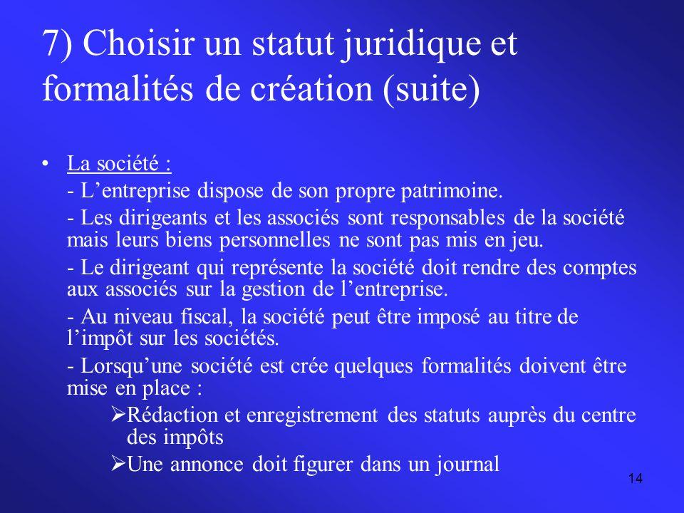 7) Choisir un statut juridique et formalités de création (suite)