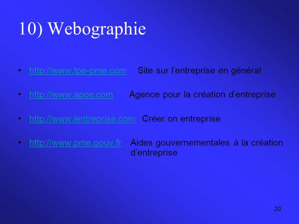 10) Webographie http://www.tpe-pme.com Site sur l'entreprise en général. http://www.apce.com Agence pour la création d'entreprise.