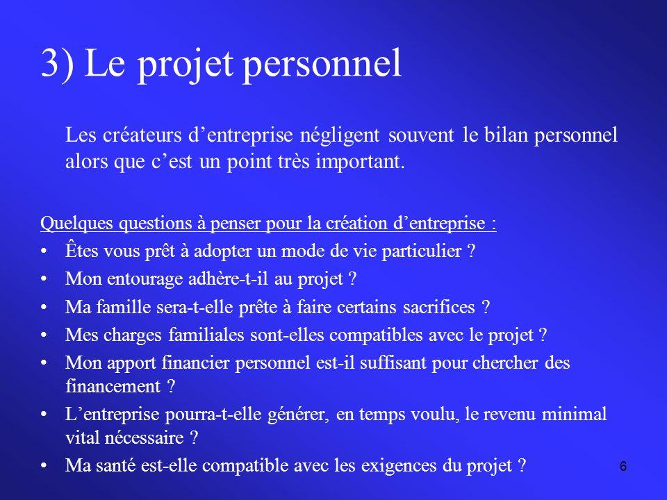 3) Le projet personnel Les créateurs d'entreprise négligent souvent le bilan personnel alors que c'est un point très important.