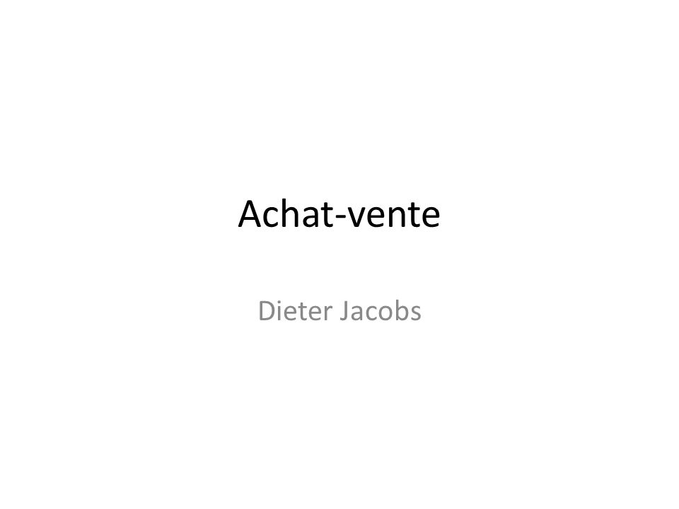 Achat-vente Dieter Jacobs
