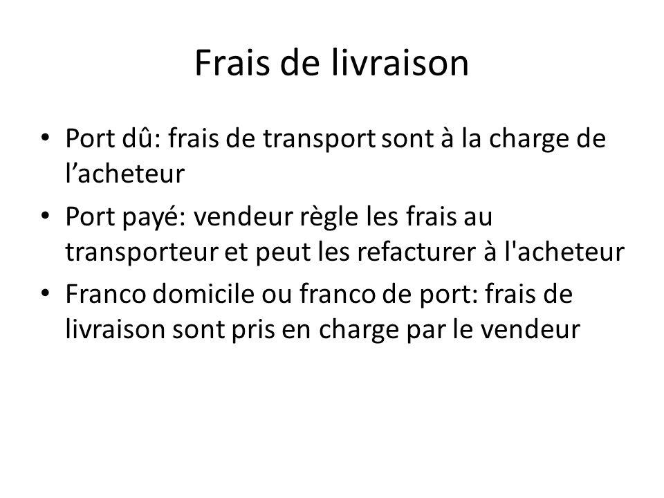 Frais de livraison Port dû: frais de transport sont à la charge de l'acheteur.