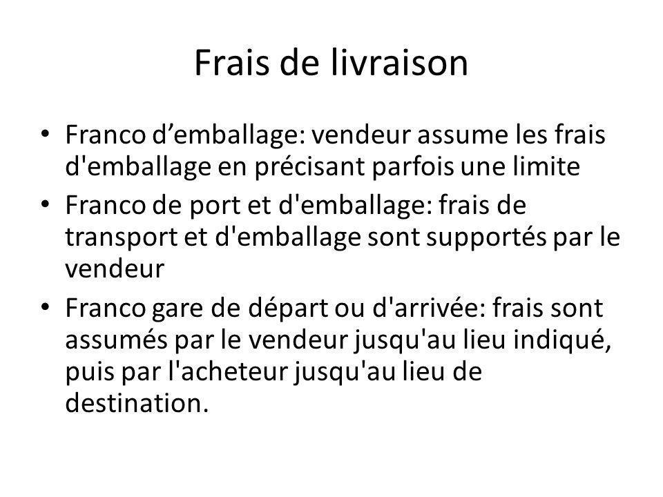 Frais de livraison Franco d'emballage: vendeur assume les frais d emballage en précisant parfois une limite.