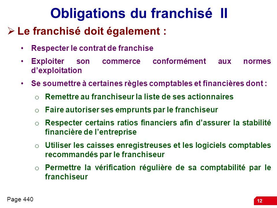 Obligations du franchisé II