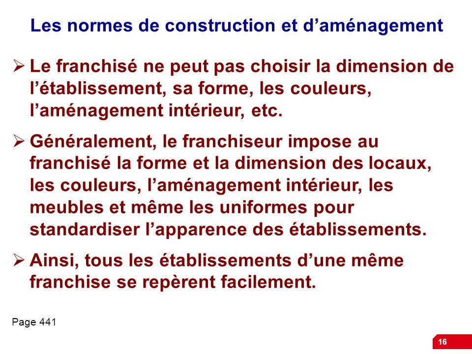 Les normes de construction et d'aménagement