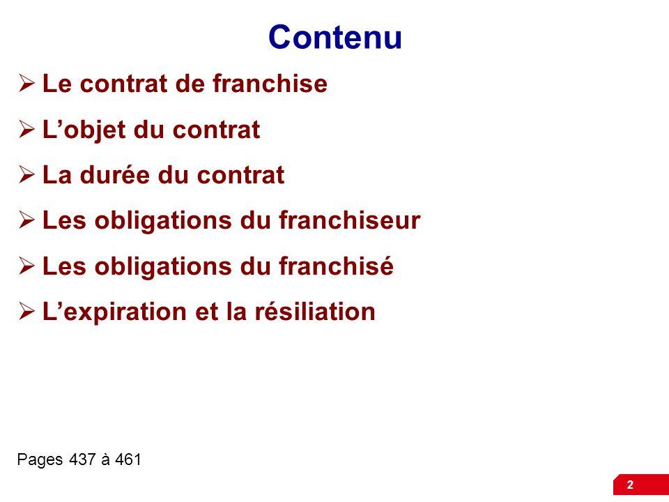 Contenu Le contrat de franchise L'objet du contrat La durée du contrat