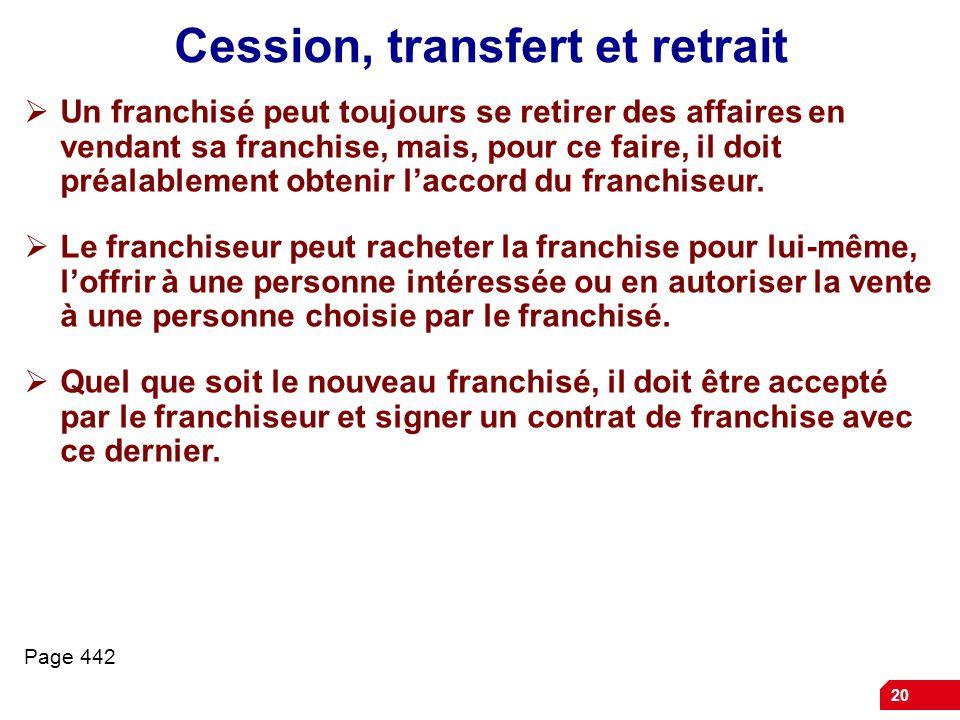 Cession, transfert et retrait