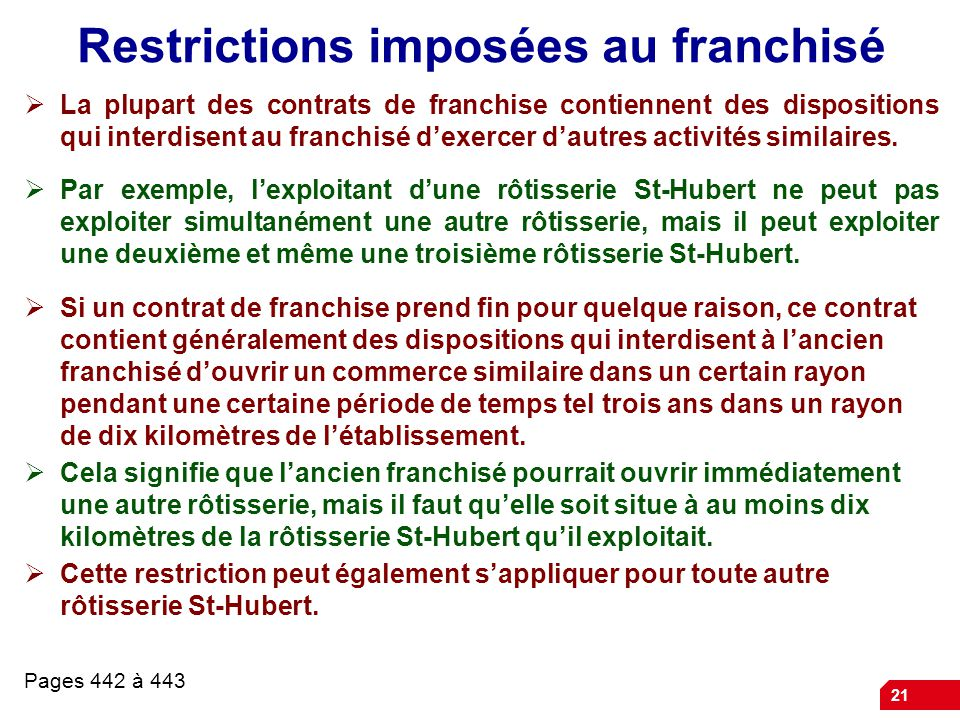 Restrictions imposées au franchisé