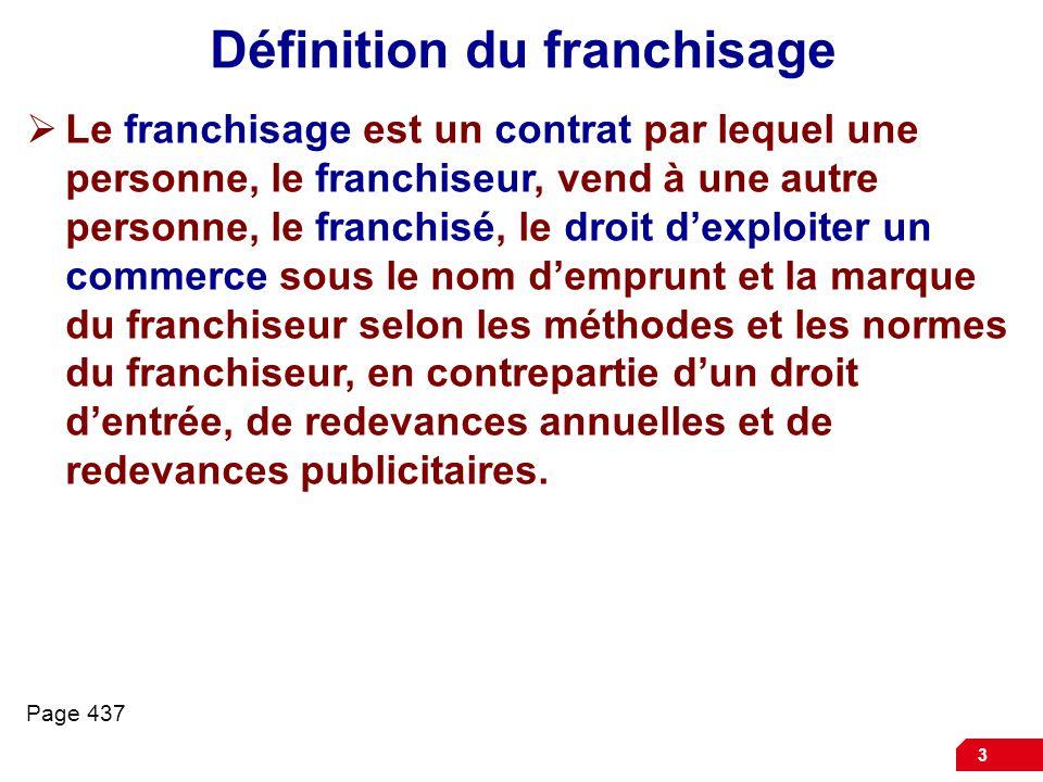 Définition du franchisage