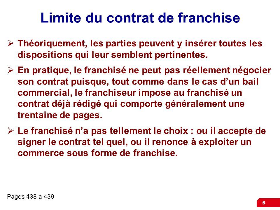 Limite du contrat de franchise