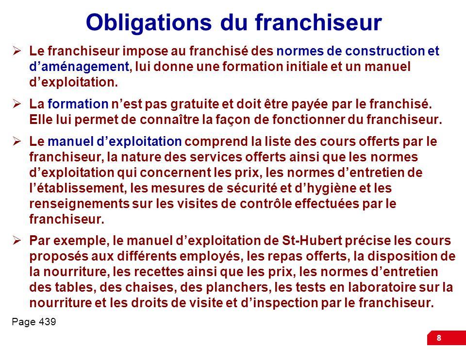 Obligations du franchiseur