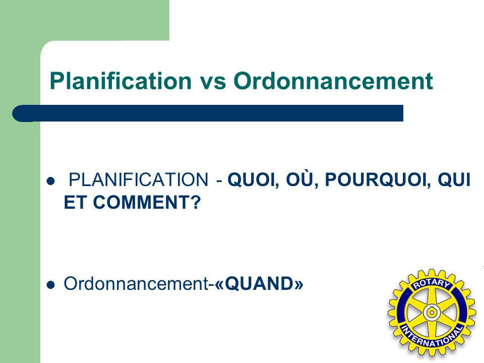 Planification vs Ordonnancement