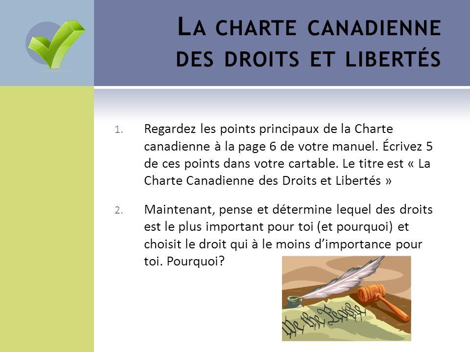 La charte canadienne des droits et libertés