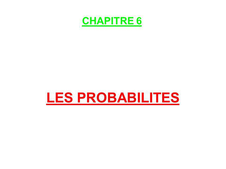 CHAPITRE 6 LES PROBABILITES