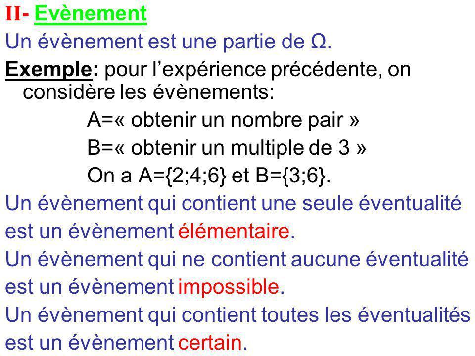 II- Evènement Un évènement est une partie de Ω. Exemple: pour l'expérience précédente, on considère les évènements: