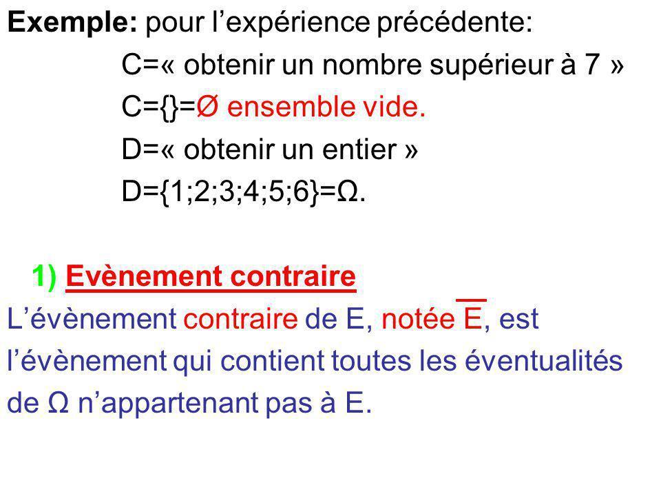 Exemple: pour l'expérience précédente: