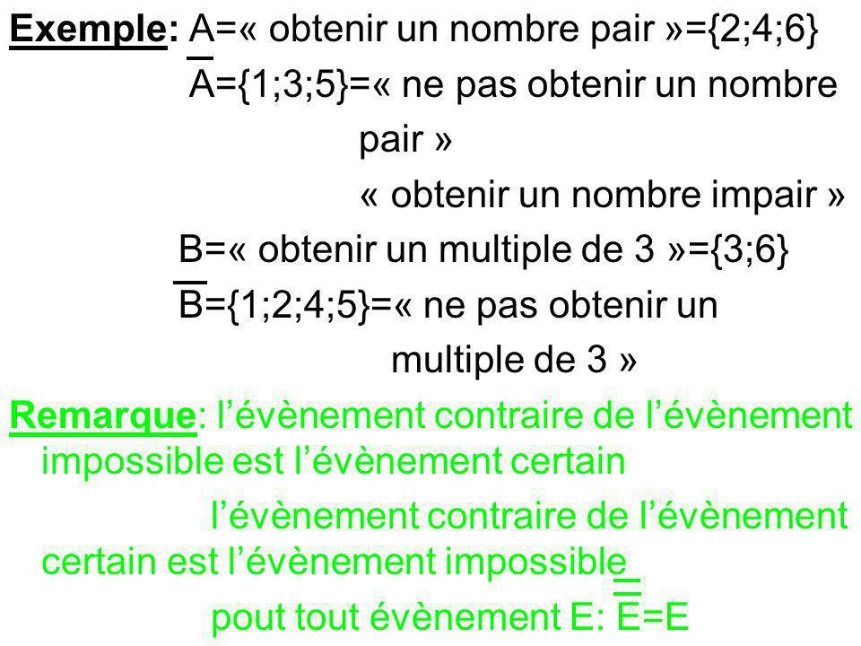 Exemple: A=« obtenir un nombre pair »={2;4;6}