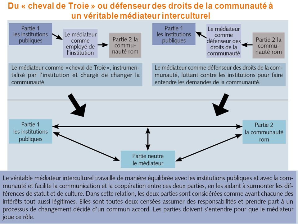 Du « cheval de Troie » ou défenseur des droits de la communauté à un véritable médiateur interculturel
