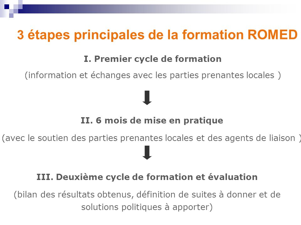 3 étapes principales de la formation ROMED