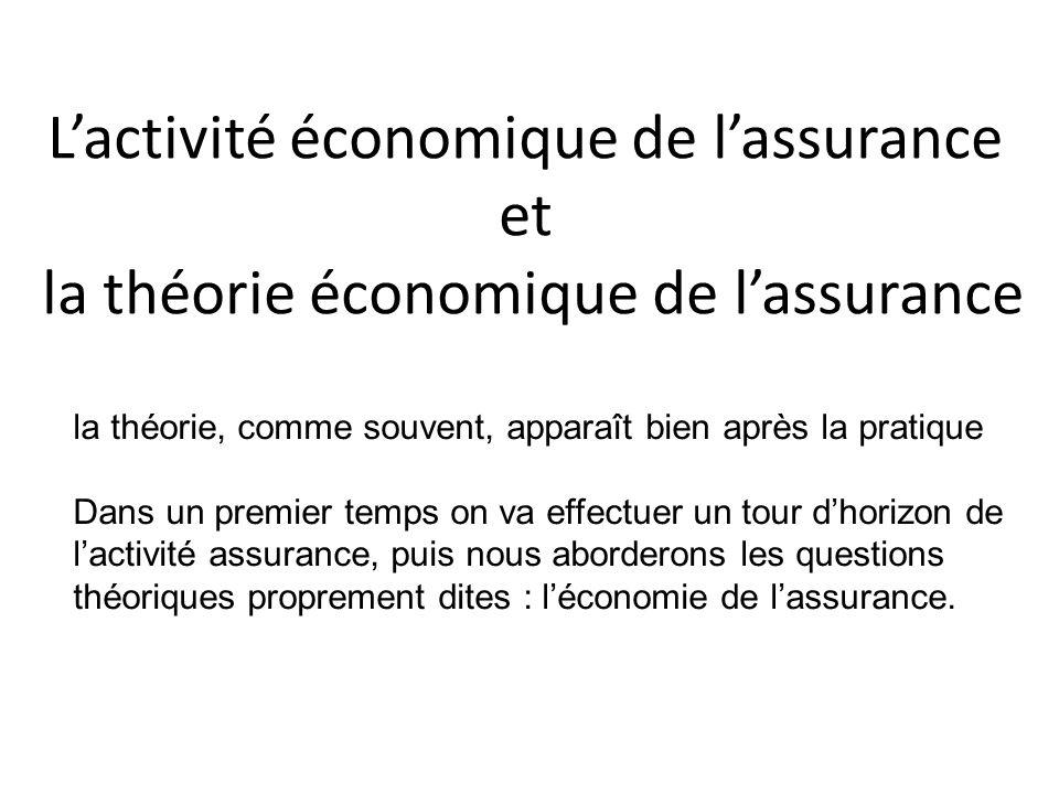 L'activité économique de l'assurance et la théorie économique de l'assurance