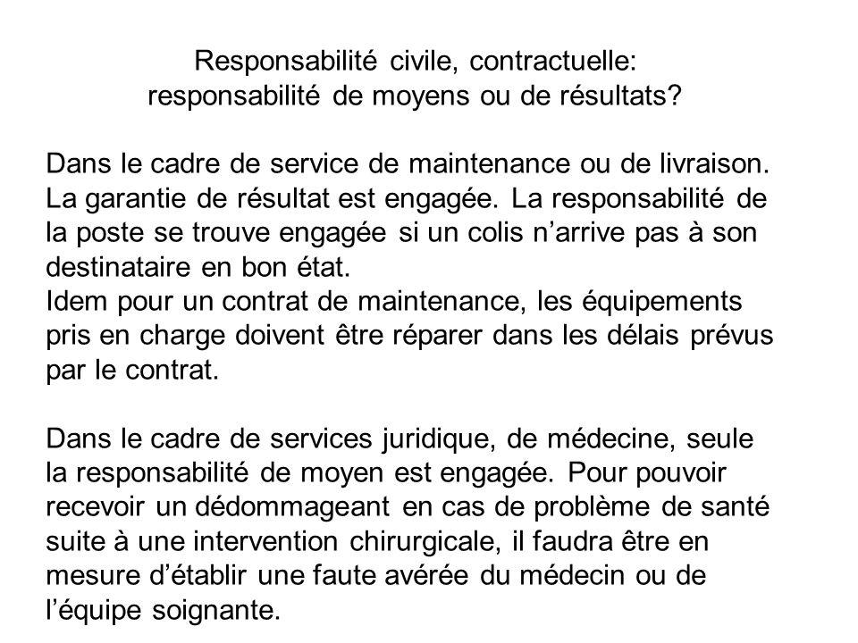 Responsabilité civile, contractuelle: