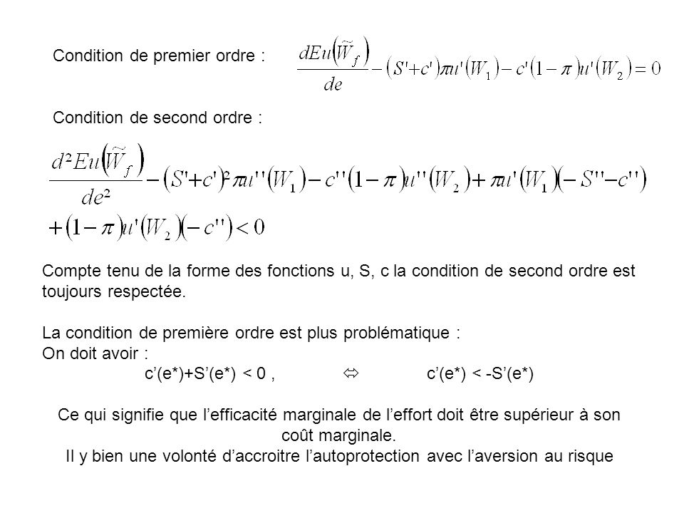 c'(e*)+S'(e*) < 0 ,  c'(e*) < -S'(e*)