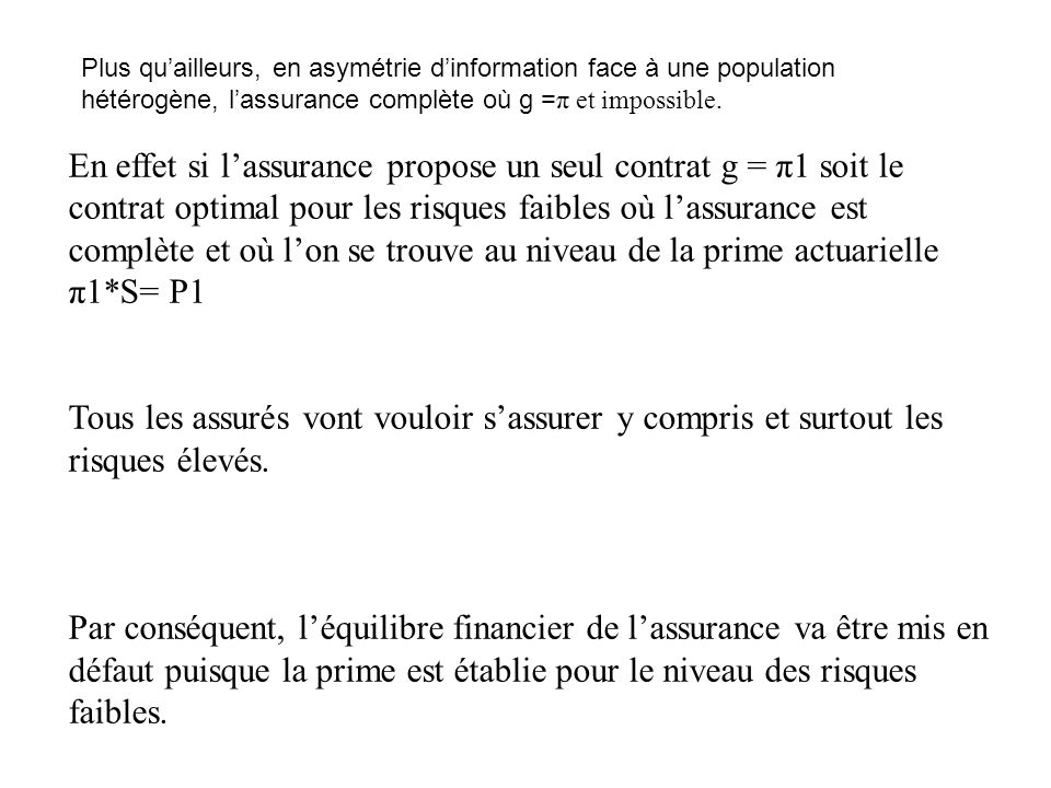 Plus qu'ailleurs, en asymétrie d'information face à une population hétérogène, l'assurance complète où g =π et impossible.