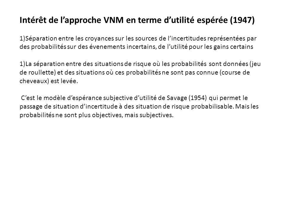 Intérêt de l'approche VNM en terme d'utilité espérée (1947)