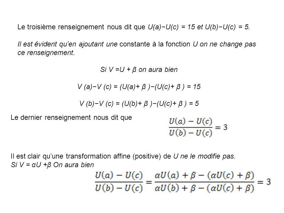 V (a)−V (c) = (U(a)+ β )−(U(c)+ β ) = 15