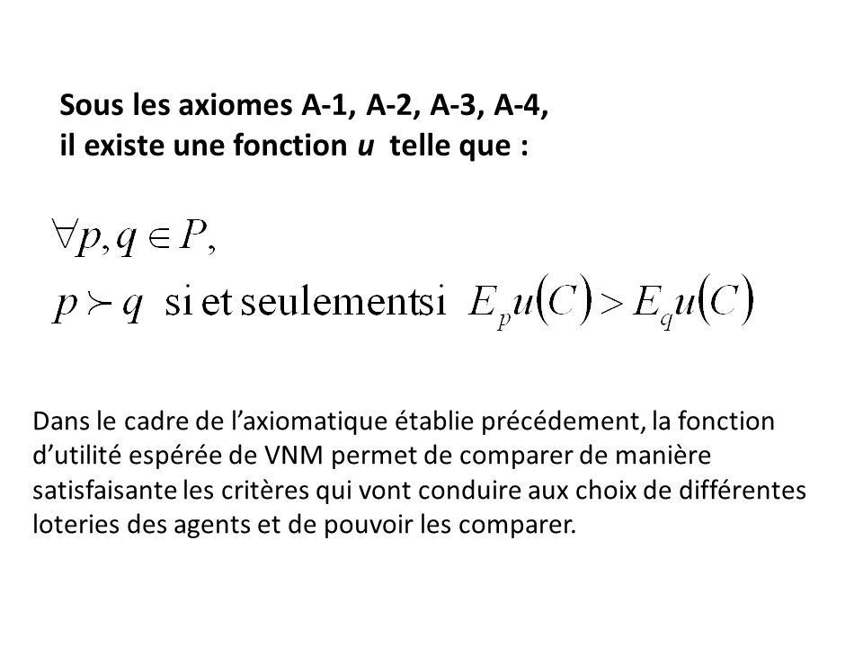 Sous les axiomes A-1, A-2, A-3, A-4,