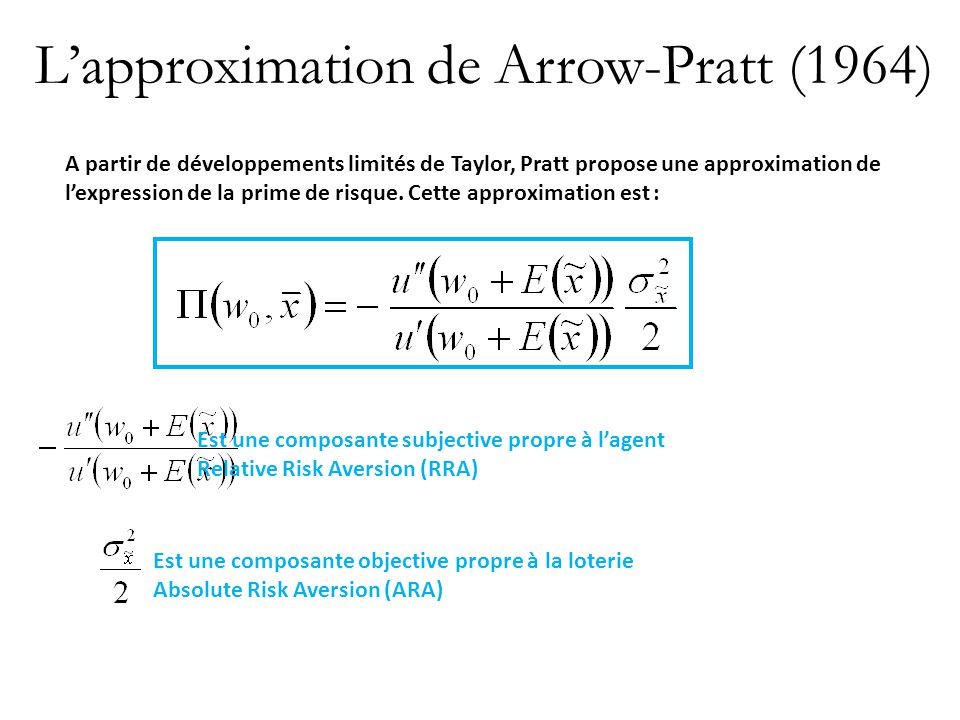L'approximation de Arrow-Pratt (1964)