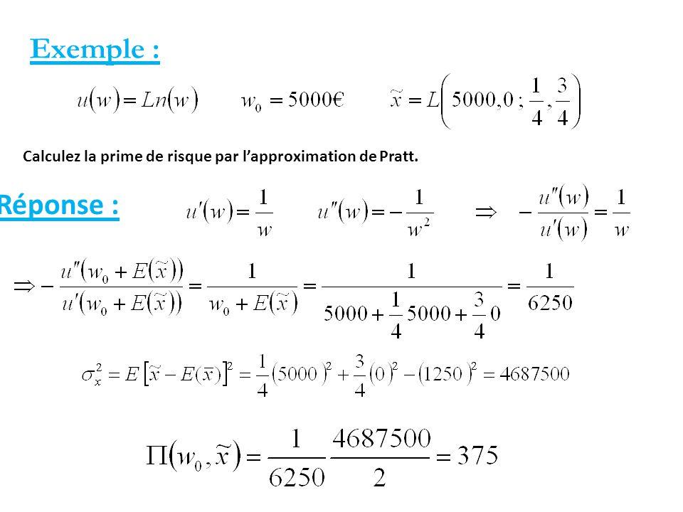 Exemple : Calculez la prime de risque par l'approximation de Pratt. Réponse : 81