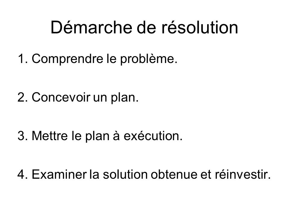 Démarche de résolution