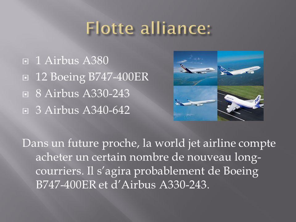 Flotte alliance: 1 Airbus A380 12 Boeing B747-400ER 8 Airbus A330-243