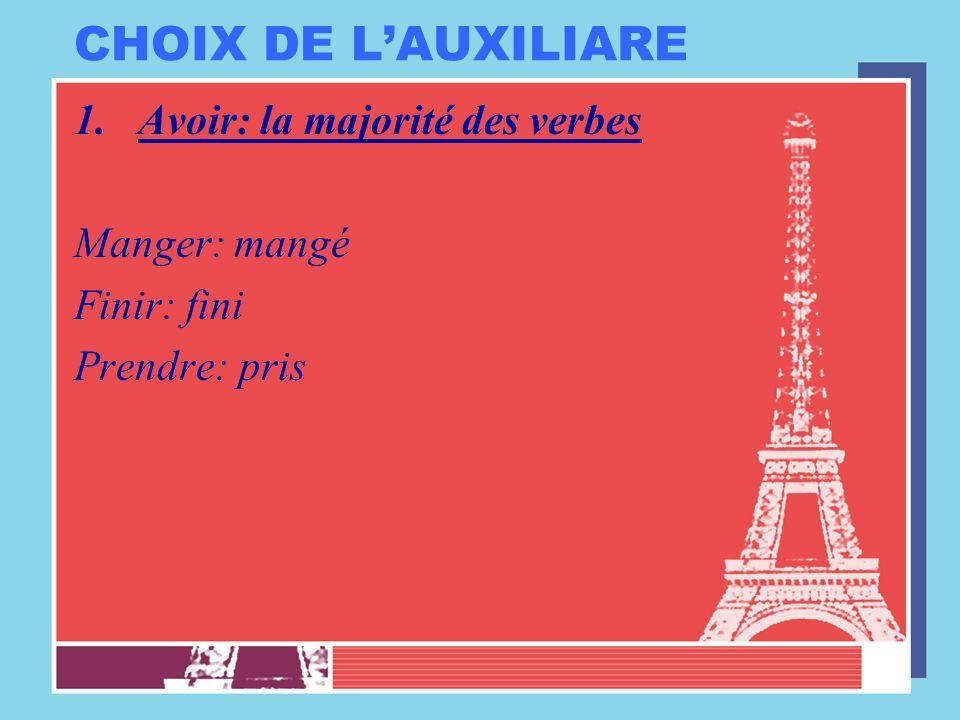 CHOIX DE L'AUXILIARE Avoir: la majorité des verbes Manger: mangé