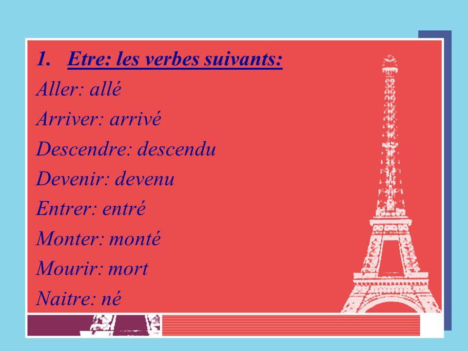 Etre: les verbes suivants:
