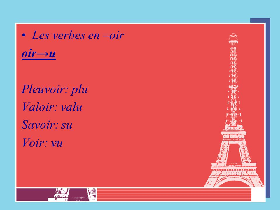 Les verbes en –oir oir→u Pleuvoir: plu Valoir: valu Savoir: su Voir: vu