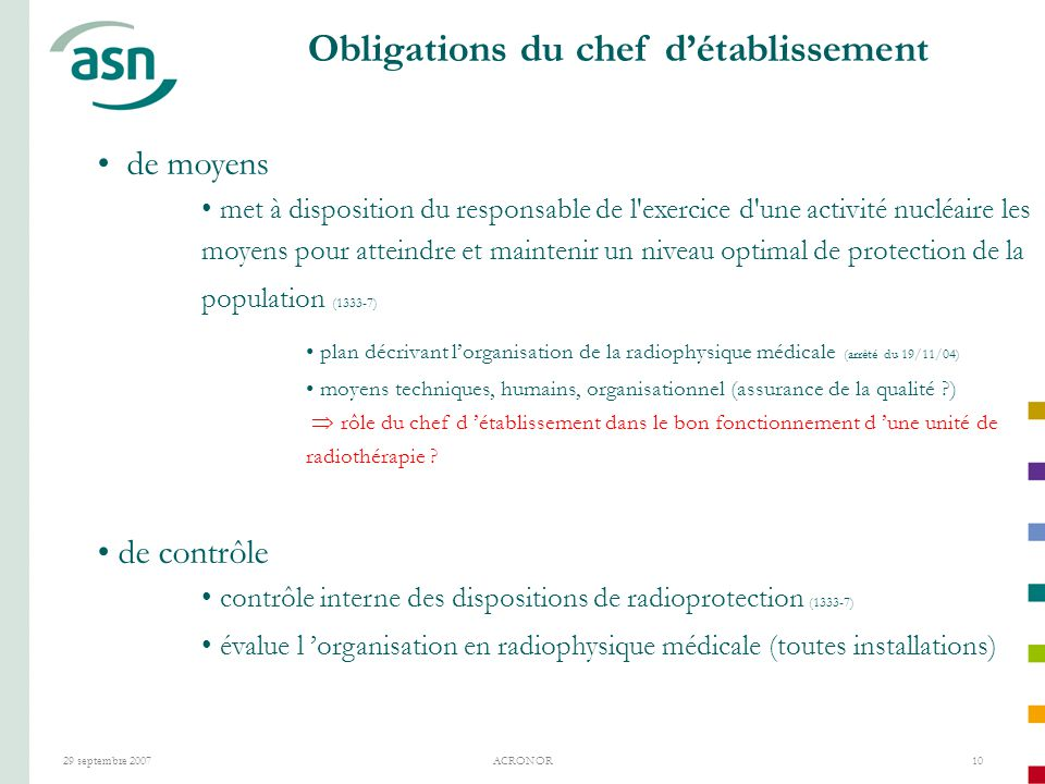 Obligations du chef d'établissement