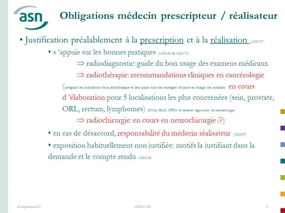 Obligations médecin prescripteur / réalisateur