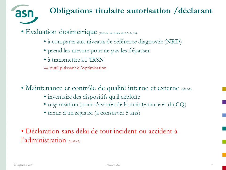 Obligations titulaire autorisation /déclarant