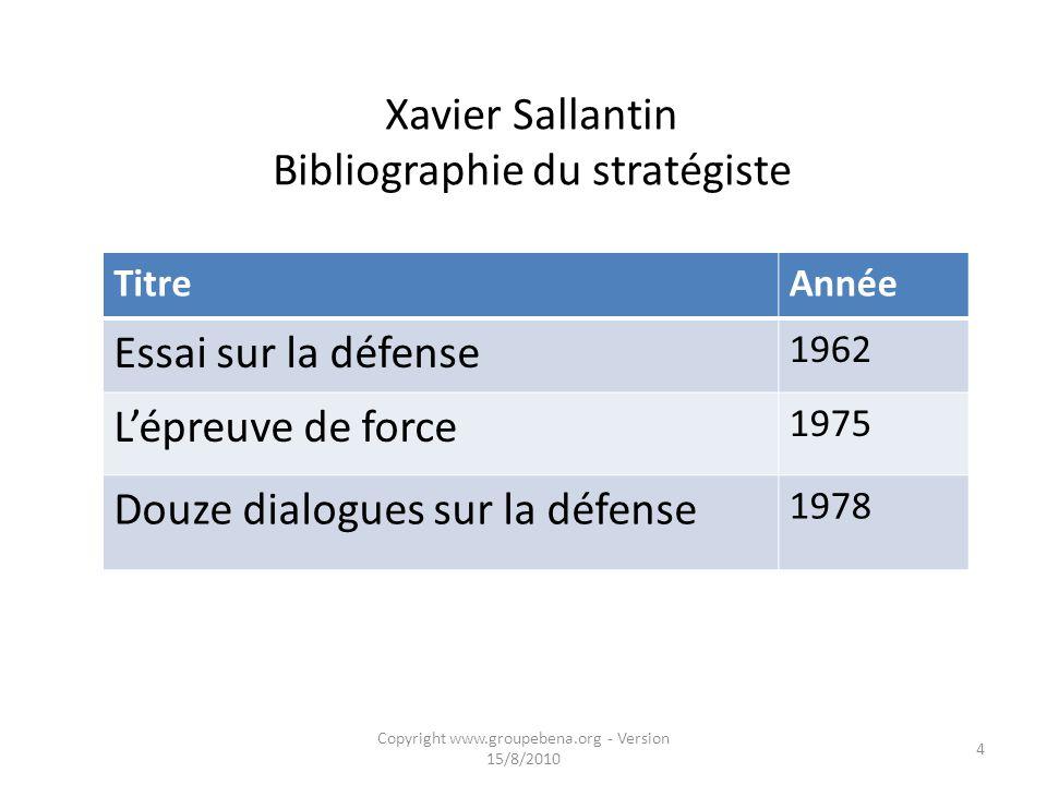 Xavier Sallantin Bibliographie du stratégiste