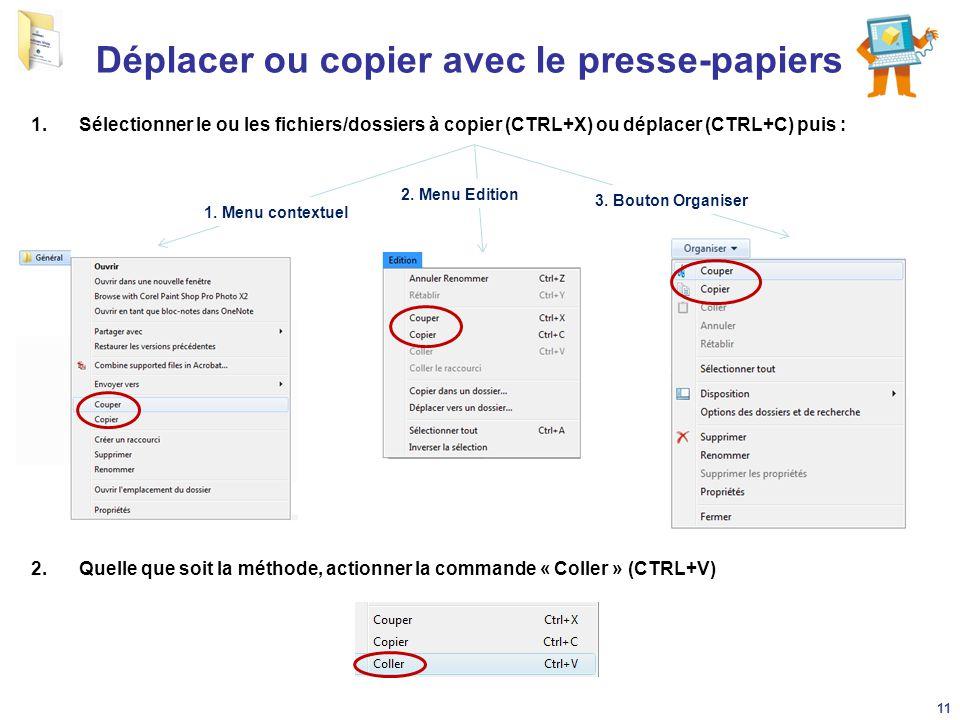 Déplacer ou copier avec le presse-papiers