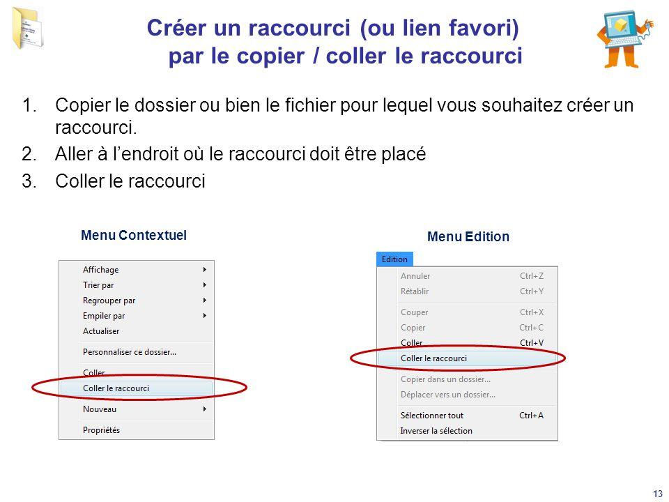 Créer un raccourci (ou lien favori) par le copier / coller le raccourci