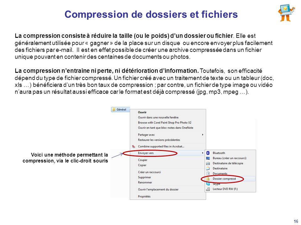 Compression de dossiers et fichiers