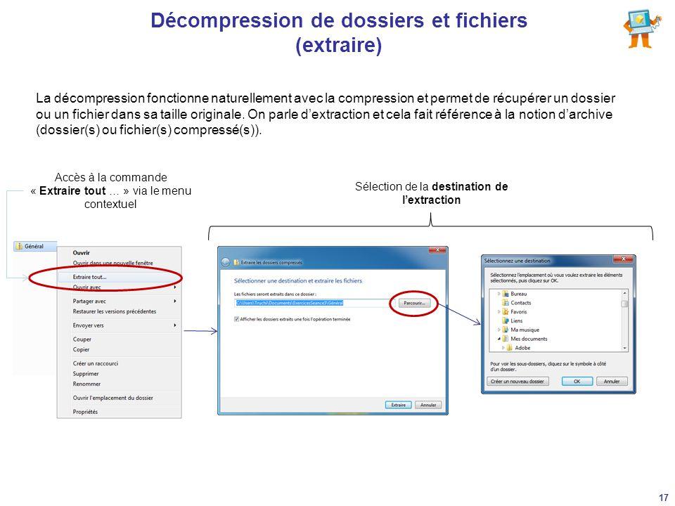 Décompression de dossiers et fichiers (extraire)
