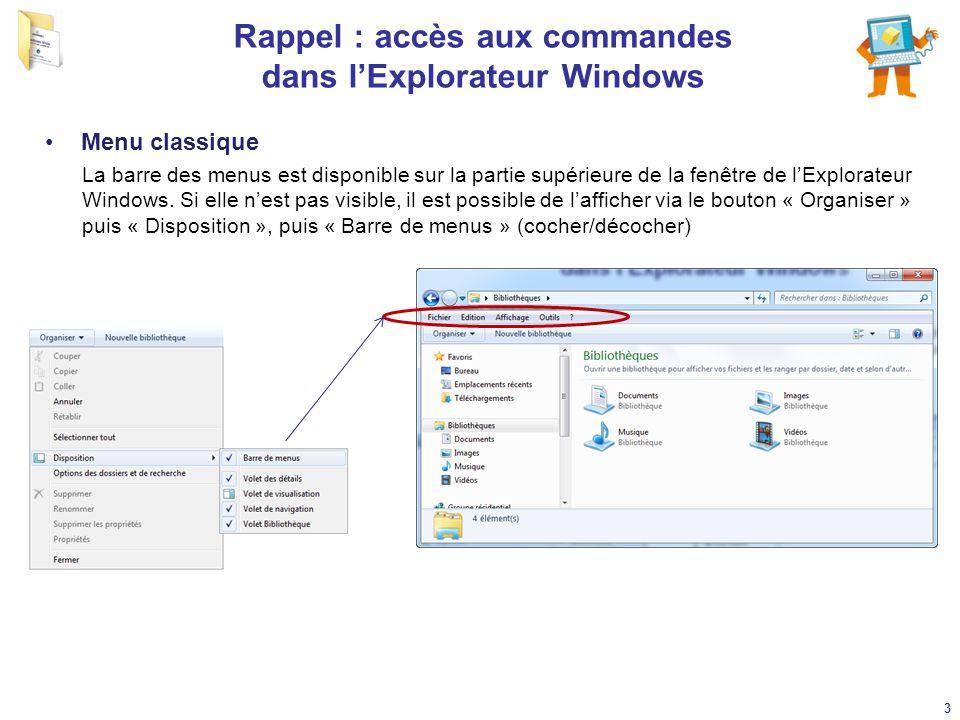 Rappel : accès aux commandes dans l'Explorateur Windows