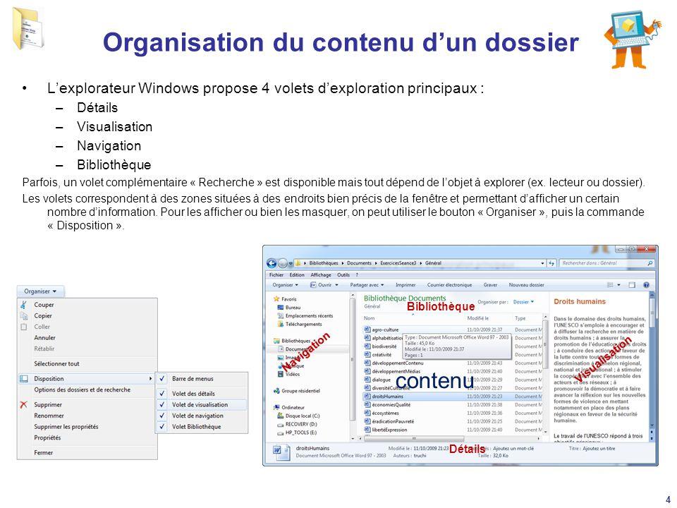 Organisation du contenu d'un dossier
