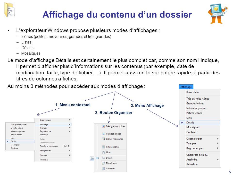 Affichage du contenu d'un dossier