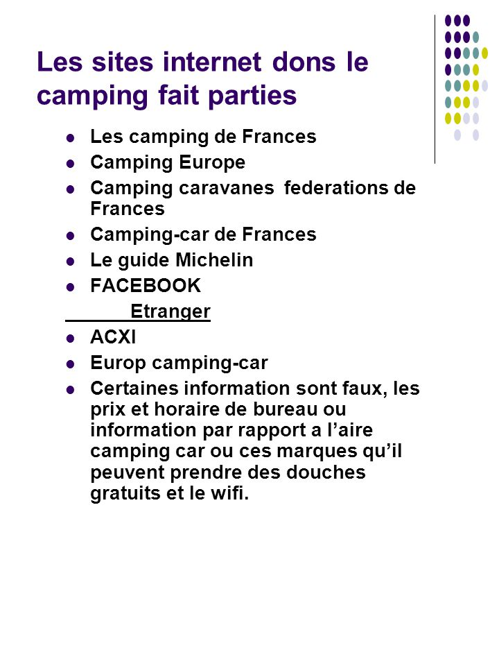 Les sites internet dons le camping fait parties