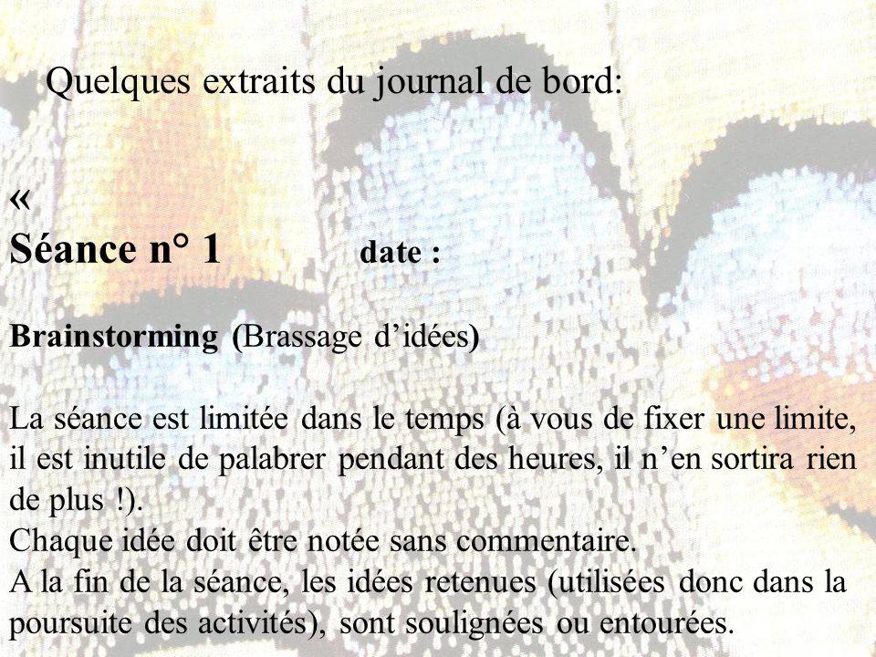 « Séance n° 1 date : Quelques extraits du journal de bord: